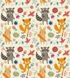 Χαριτωμένο άνευ ραφής σχέδιο με τα ζώα και τα λουλούδια Στοκ Φωτογραφίες