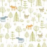 Χαριτωμένο άνευ ραφής σχέδιο με τα ζώα fores στοκ εικόνα