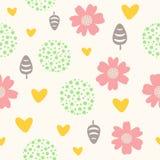 Χαριτωμένο άνευ ραφής σχέδιο με τα λουλούδια, τα φύλλα, τις καρδιές και τα σημεία διανυσματική απεικόνιση