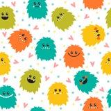 Χαριτωμένο άνευ ραφής σχέδιο με τα τέρατα smiley κινούμενων σχεδίων Διαφορετικό ΛΦ Στοκ φωτογραφία με δικαίωμα ελεύθερης χρήσης