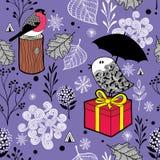 Χαριτωμένο άνευ ραφής σχέδιο με τα χειμερινά πουλιά και το χιόνι Στοκ φωτογραφίες με δικαίωμα ελεύθερης χρήσης