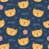 Χαριτωμένο άνευ ραφής σχέδιο με την αστεία γάτα Στοκ φωτογραφία με δικαίωμα ελεύθερης χρήσης