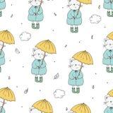 Χαριτωμένο άνευ ραφής σχέδιο με την αστείες γάτα και την ομπρέλα Διανυσματική τυπωμένη ύλη Στοκ φωτογραφία με δικαίωμα ελεύθερης χρήσης