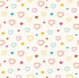 Χαριτωμένο άνευ ραφής σχέδιο με τις καρδιές Στοκ Εικόνες
