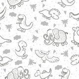 Χαριτωμένο άνευ ραφής σχέδιο με τους αστείους δεινοσαύρους επίσης corel σύρετε το διάνυσμα απεικόνισης Στοκ Εικόνες