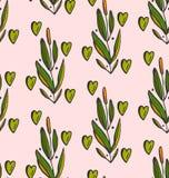 Χαριτωμένο άνευ ραφής σχέδιο με τους κλάδους και τις καρδιές στην κρητιδογραφία και τα πράσινα χρώματα Στοκ φωτογραφία με δικαίωμα ελεύθερης χρήσης