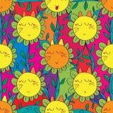 Χαριτωμένο άνευ ραφής σχέδιο λουλουδιών γατών Στοκ Εικόνες