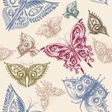 Χαριτωμένο άνευ ραφής σχέδιο ταπετσαριών με τις τυποποιημένες πεταλούδες από το s Στοκ εικόνα με δικαίωμα ελεύθερης χρήσης