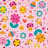 Χαριτωμένο άνευ ραφής σχέδιο φύσης μανιταριών, λουλουδιών, καρδιών & πουλιών κινούμενων σχεδίων Στοκ φωτογραφία με δικαίωμα ελεύθερης χρήσης