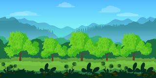 Χαριτωμένο άνευ ραφής τοπίο κινούμενων σχεδίων με τα χωρισμένα στρώματα, απεικόνιση θερινής ημέρας Στοκ Εικόνα
