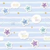 Χαριτωμένο άνευ ραφής υπόβαθρο σχεδίων με τα αστέρια kawaii κινούμενων σχεδίων και τις λεκτικές φυσαλίδες Για τα ενδύματα μωρών μ Στοκ Φωτογραφία