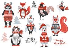 Χαριτωμένο δάσος ζώων Χριστουγέννων δασόβιο Στοκ Φωτογραφίες