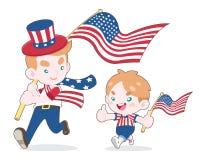 Χαριτωμένο άτομο ύφους και ένα αγόρι που κυματίζει την απεικόνιση κινούμενων σχεδίων ΑΜΕΡΙΚΑΝΙΚΩΝ σημαιών ελεύθερη απεικόνιση δικαιώματος