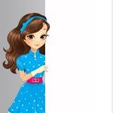 Χαριτωμένο έμβλημα λαβής κοριτσιών Brunette απεικόνιση αποθεμάτων