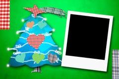 Χαριτωμένο δέντρο πλαισίων φωτογραφιών καρτών Χριστουγέννων Στοκ Εικόνες