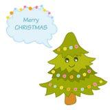 χαριτωμένο δέντρο Χριστο&upsilo διανυσματική απεικόνιση