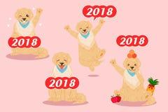 Χαριτωμένο έτος κινούμενων σχεδίων 2018 Στοκ Εικόνα