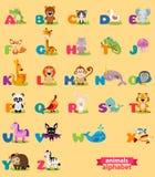 Χαριτωμένο αγγλικό διευκρινισμένο αλφάβητο ζωολογικών κήπων με το χαριτωμένο ζώο κινούμενων σχεδίων Στοκ εικόνες με δικαίωμα ελεύθερης χρήσης