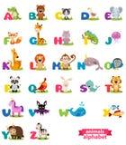 Χαριτωμένο αγγλικό διευκρινισμένο αλφάβητο ζωολογικών κήπων με το χαριτωμένο ζώο κινούμενων σχεδίων Στοκ Εικόνες