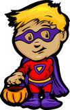 Χαριτωμένο αγόρι αποκριών στα έξοχα κινούμενα σχέδια κοστουμιών ηρώων ελεύθερη απεικόνιση δικαιώματος