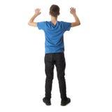 Χαριτωμένο αγόρι εφήβων πέρα από απομονωμένο το λευκό υπόβαθρο Στοκ εικόνα με δικαίωμα ελεύθερης χρήσης