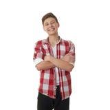 Χαριτωμένο αγόρι εφήβων πέρα από απομονωμένο το λευκό υπόβαθρο Στοκ Φωτογραφία
