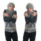 Χαριτωμένο αγόρι εφήβων στο γκρίζο πουλόβερ πέρα από απομονωμένο το λευκό υπόβαθρο Στοκ εικόνες με δικαίωμα ελεύθερης χρήσης
