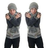 Χαριτωμένο αγόρι εφήβων στο γκρίζο πουλόβερ πέρα από απομονωμένο το λευκό υπόβαθρο Στοκ εικόνα με δικαίωμα ελεύθερης χρήσης