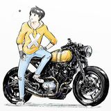 Χαριτωμένο αγόρι κινούμενων σχεδίων που οδηγά τη μοτοσικλέτα της Στοκ Εικόνα
