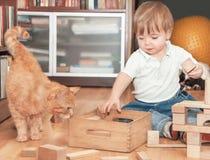 Χαριτωμένο αγόρι με τη γάτα στοκ φωτογραφίες με δικαίωμα ελεύθερης χρήσης