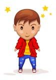 Χαριτωμένο αγόρι παιδιών κινούμενων σχεδίων στο διάνυσμα Στοκ Εικόνες