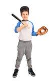 Χαριτωμένο αγόρι που κρατά ένα ρόπαλο του μπέιζμπολ Στοκ φωτογραφία με δικαίωμα ελεύθερης χρήσης