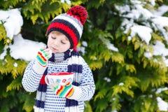 Χαριτωμένο αγόρι που κρατά το μεγάλο φλυτζάνι και το ζεστά ποτό και το marshmallo σοκολάτας Στοκ Εικόνες
