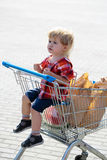 Χαριτωμένο αγόρι στο καροτσάκι αγορών Στοκ φωτογραφία με δικαίωμα ελεύθερης χρήσης