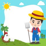 Χαριτωμένο αγόρι της Farmer στο μεγάλο αγρόκτημα απεικόνιση αποθεμάτων