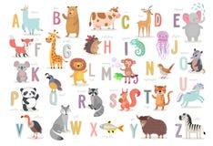 Χαριτωμένο αλφάβητο ζώων για την εκπαίδευση παιδιών Αστείοι συρμένοι χέρι χαρακτήρες ύφους απεικόνιση αποθεμάτων