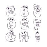 Χαριτωμένο αλφάβητο τεράτων doodle abc απεικόνιση αποθεμάτων
