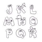 Χαριτωμένο αλφάβητο τεράτων doodle abc Στοκ Εικόνες
