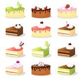 Χαριτωμένο αναδρομικό σύνολο διάφορων κέικ με την κρέμα και τα φρούτα, συλλογή τροφίμων απεικόνισης Στοκ Εικόνες