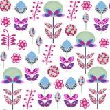 Χαριτωμένο αναδρομικό floral άνευ ραφής σχέδιο με τα περίεργα λουλούδια και seaml ελεύθερη απεικόνιση δικαιώματος