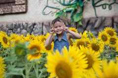 Χαριτωμένο ασιατικό κορίτσι που χαμογελά με τον τομέα λουλουδιών ήλιων Στοκ φωτογραφία με δικαίωμα ελεύθερης χρήσης