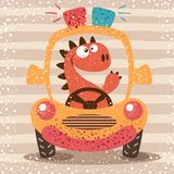Χαριτωμένο αστείο αυτοκίνητο κίνησης του Dino διανυσματική απεικόνιση