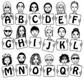 Χαριτωμένο αλφάβητο με συρμένα τα χέρι πρόσωπα Στοκ φωτογραφία με δικαίωμα ελεύθερης χρήσης