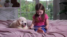 Χαριτωμένο βίντεο προσοχής παιδιών με το κουτάβι στο κρεβάτι απόθεμα βίντεο