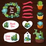 Χαριτωμένο γαμήλιο γραφικό σύνολο succulents Στοκ Εικόνες