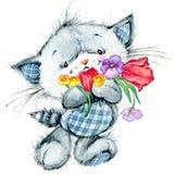 Χαριτωμένο γατάκι watercolor διανυσματική απεικόνιση