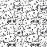 Χαριτωμένο γατών διάνυσμα σχεδίων προσώπου doodle άνευ ραφής Στοκ Εικόνες