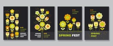 Χαριτωμένο διακοσμητικό σύνολο αφισών λουλουδιών Στοκ φωτογραφία με δικαίωμα ελεύθερης χρήσης