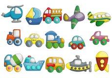 Χαριτωμένο διανυσματικό σύνολο σχεδίου κινούμενων σχεδίων οχημάτων διανυσματική απεικόνιση