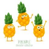 Χαριτωμένο διανυσματικό σύνολο χαρακτήρα φρούτων ανανά στη διαφορετική συγκίνηση δράσης που απομονώνεται στο άσπρο υπόβαθρο απεικόνιση αποθεμάτων